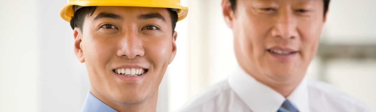Banner image Asian businessmen in hard hats